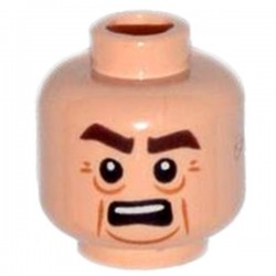 Light Flesh Minifig, Head Male, Lines under Eyes, Cheek Lines & Open Mouth with Teeth
