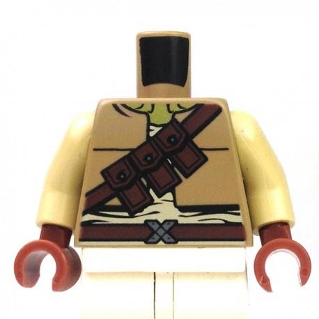 Torso - Vest with Three Pocket Shoulder Belt, Tan Arms, Reddish Brown Hands