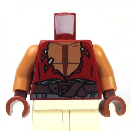 Lego Accessoires Minifig Torse -gilet déchiré avec la poitrine nue (Rouge foncé) (La Petite Brique)