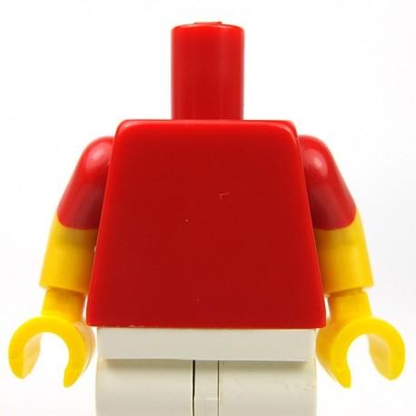 Lego Accessoires Minifig Torse - manches courtes rouges, bras jaunes, mains jaunes (Rouge) (La Petite Brique)