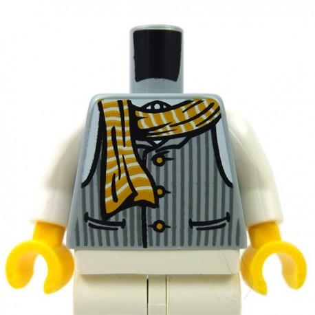 Lego Accessoires Minifig Torse - gilet rayé avec boutons, écharpe (Light Bluish Gray) (La Petite Brique)