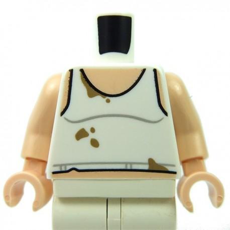 White Torso Tank Top with Dark Tan Stains, Light Flesh Arms, Light Flesh Hands
