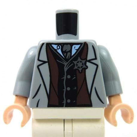 Light Bluish Gray Torso Jacket with Vest, Star Badge & Tie