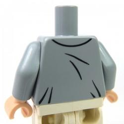 Lego Accessoires Minifig Torse - veste avec gilet, cravate, insigne (Light Bluish Gray) (La Petite Brique)