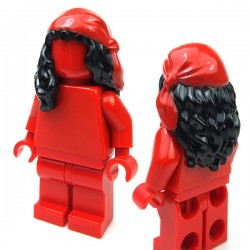 Black Minifig, Hair Female Mid-Length with Red Rag Wrap