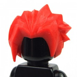 Red Minifig, Hair Angular Swept Back