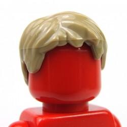 Lego Accessoires Minifig Cheveux court, ébouriffé avec une raie (Dark Tan) (La Petite Brique)