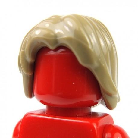 Lego Accessoires Minifig Cheveux mi-long, ébouriffé, raie au milieu (Dark Tan) (La Petite Brique)