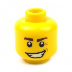 Yellow Minifig, Head Dark Brown Eyebrows, Crooked Smile & Laugh Lines