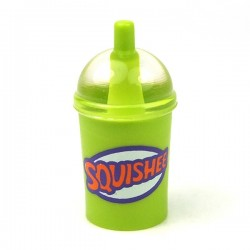 Lime Minifig, Utensil Cup, Dome Lid Cup & Straw with Trans-Clear Lid 'SQUISHEE'
