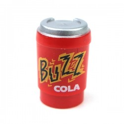Red Minifig, Utensil Cup, Take Out Cup with Metallic Silver Lid BUZZ COLA
