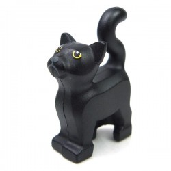 Black Cat Standing with Yellow Eyes & Dark Bluish Gray Nose & Mouth