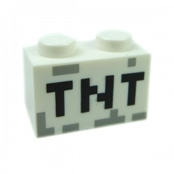 "White Brick 1 x 2, ""TNT"" Pixelated"