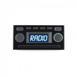 "Black Tile 1 x 2 with Light Blue ""RADIO"", Silver Buttons"