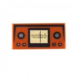 Dark Orange Tile 1 x 2 with Radio Frequency & Buttons