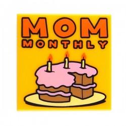 "Bright Light Orange Tile 2 x 2 ""MOM MONTHLY"""