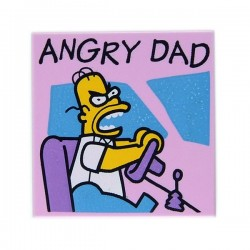 "Bright Pink Tile 2x2 ""ANGRY DAD"" (Homer Simpson)"