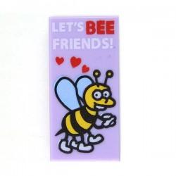 """Lego Accessoires Minifig Carte """"Let's Bee Friends"""" - Tile 1x2 (Lavande) (La Petite Brique)"""