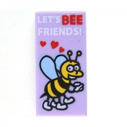 "Lavender Tile 1 x 2 with Bee with Hearts ""LET'S BEE FRIENDS"""