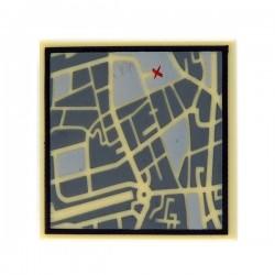 Lego Accessoires Minifig Tile 2x2 Plan de rues (Beige) (La Petite Brique)