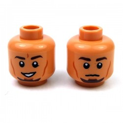 Flesh Minifig, Head Dual Sided Male Dark Brown Eyebrows, Goatee, Cheek Lines, Smile / Neutral