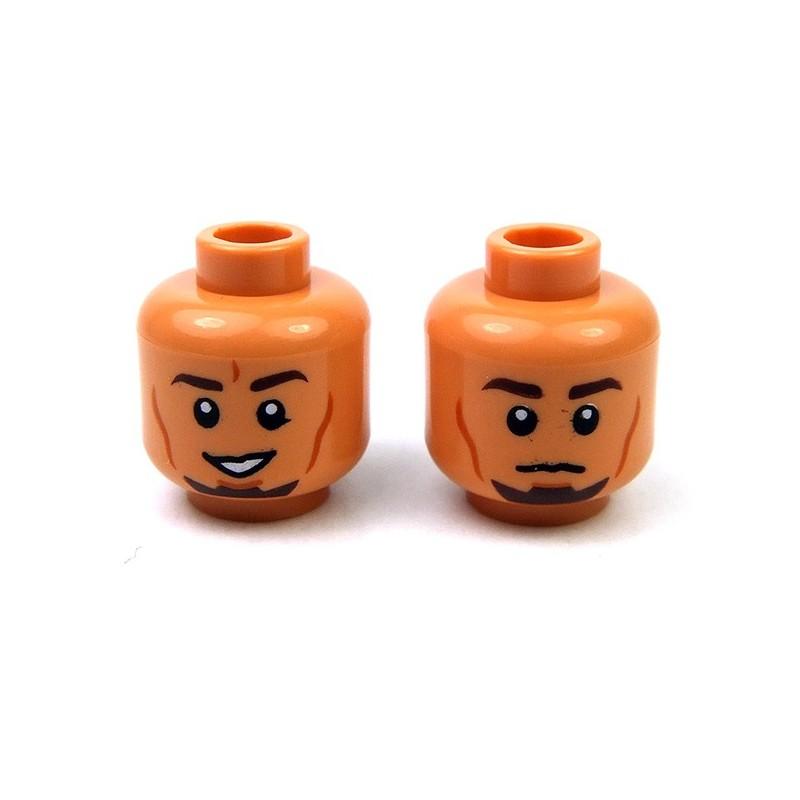 Lego New Light Flesh Minifigure Head Dual Sided Dark Brown Eyebrows Dark Orange