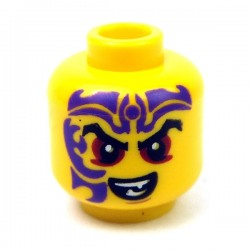 Yellow Minifig, Head, Dark Red Eyes, Dark Purple Tattoo, Evil Smile