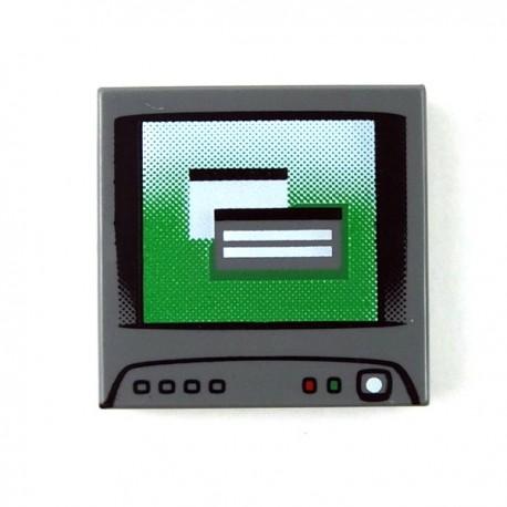Lego Accessoires Minifig Ecran Ordinateur - Tile 2x2 (Dark Bluish Gray) (La Petite Brique)