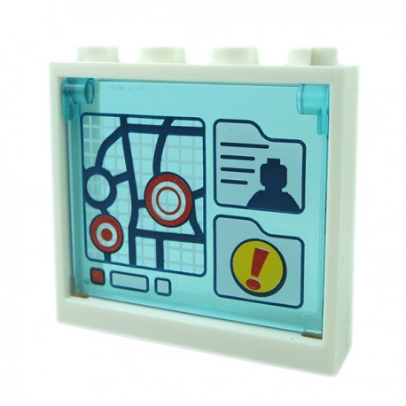 Trans-Light Blue Glass for Window 1x4x3 - Opening with Map + White Frame