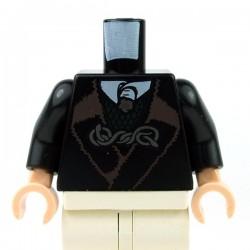 Lego Accessoires Minifig Torse - Veste & gilet vert foncé & attache argentée (noir) (La Petite Brique)