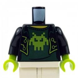 Lego Accessoires Minifig Torse - Veste ouverte sur t-shirt avec Alien (noir) (La Petite Brique)