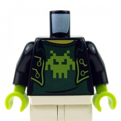 Black Torso Open Jacket over Shirt with Lime Pixelated Alien
