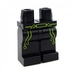 Lego Accessoires Minifig Jambes avec circuit et ceinture (Noir) (La Petite Brique)