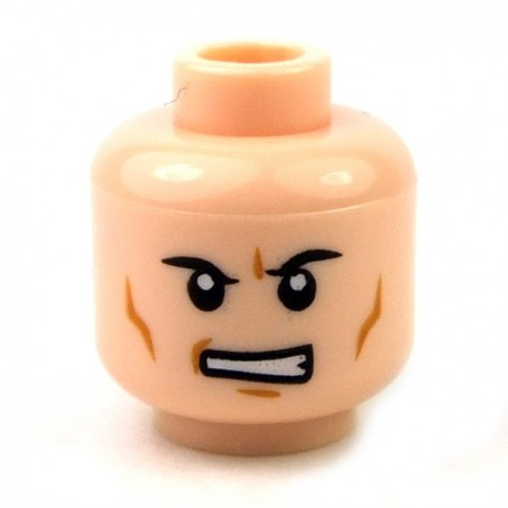 Light Flesh Minifig, Head Male Black Angry Eyebrows, Determined Mouth with Teeth
