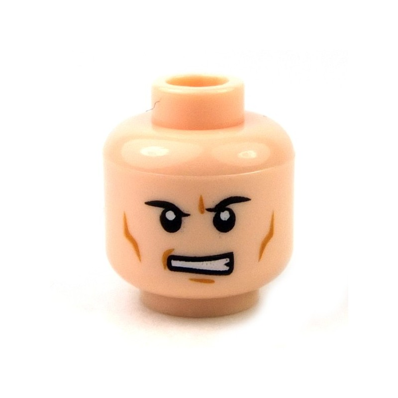 Lego New Flesh Minifigure Head Dual Sided Black Thick Eyebrows Mouth Smile Male