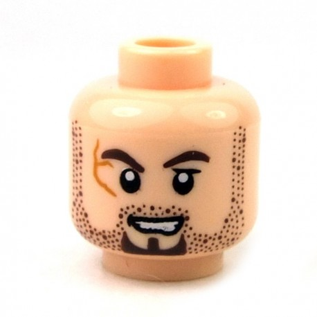 Light Flesh Minifig, Head Scrum Brown Stubble & Goatee, Scar on Right Eye