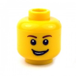 Yellow Minifig, Head Male Brown Eyebrows, Open Lopsided Grin