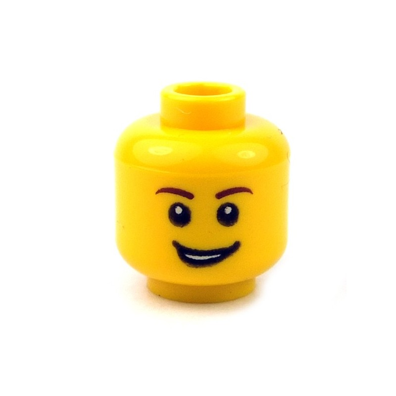Lego Yellow Minifig Head x 1 Raised Eyebrow /& Crooked Smile Head for Minifigure