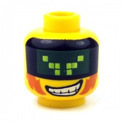 Yellow Minifig, Head Male with Pixelated Visor, Sideburns & Wide Grin