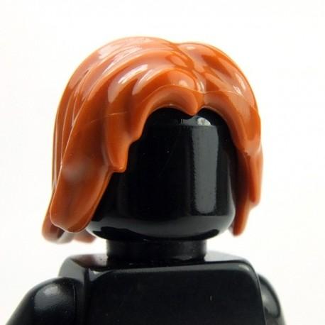 Lego Accessoires Minifig Cheveux mi-long, ébouriffé, raie au milieu (Dark Orange) (La Petite Brique)