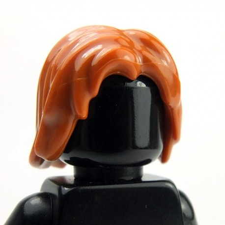 Dark Orange Minifig, Hair Mid-Length Tousled with Center Part