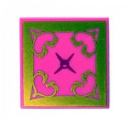 Lego Accessoires Minifig Tile 2x2 - Coussin Oriental (Dark Pink) (La Petite Brique)