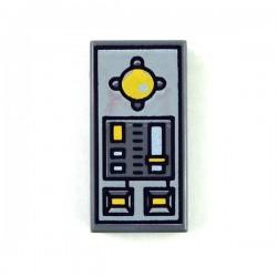Lego Accessoires Minifig Panneau de contrôle - Tile 1x2 (Dark Bluish Gray) (La Petite Brique)