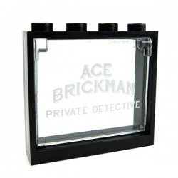 Glass for Window 1x4x3 - ACE BRICKMAN PRIVATE DETECTIVE + Black Frame
