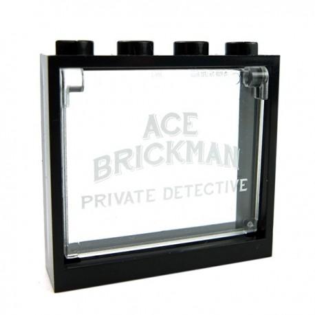 Lego Accessoires Minifig Fenêtre ACE BRICKMAN PRIVATE DETECTIVE + Entourage noir 1x4x3 (La Petite Brique)