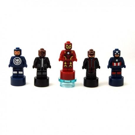 Lego Accessoires Minifig Statuettes Captain America, Hawkeye, Iron Man, Nick Fury, SHIELD Agent (La Petite Brique)