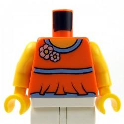 Lego Accessoires Minifig Torse - avec des fleurs (Orange) (La Petite Brique)