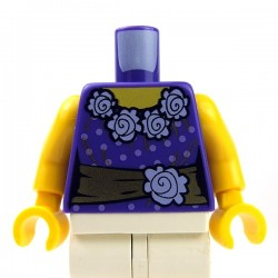 Dark Purple Torso Female Blouse with Gold Sash & Flowers