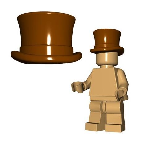 Lego Accessoires Minifig Custom BRICKWARRIORS Chapeau Haut de Forme (Marron) (La Petite Brique)