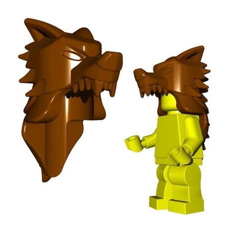 Lego Accessoires Minifig Custom BRICKWARRIORS Wolf Pelt Helm (Marron) (La Petite Brique)